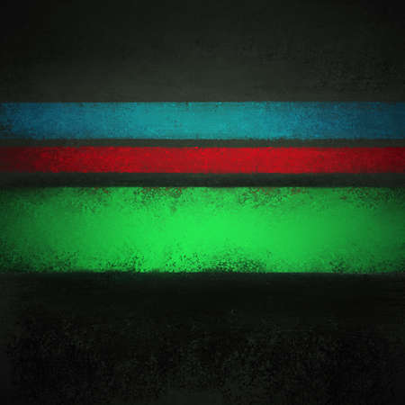 black background with blue red and green stripes with old distressed grunge texture in elegant dark design Standard-Bild - 115498697