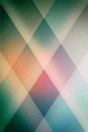 abstract blue green background with soft pink and orange lighting and diamond pattern block design Standard-Bild - 115498698