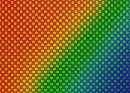 blue green yellow orange and red background with polka dot pattern in retro comic style design Standard-Bild - 116801020