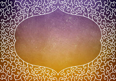 hand drawn decorated lace curl frame design border on purple and orange background, blank certificate or document label or sign Standard-Bild - 115498701