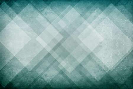 blue green background with textured geometric triangle and diamond pattern and distressed vintage grunge texture with dark paint spattered borders Standard-Bild - 116801047