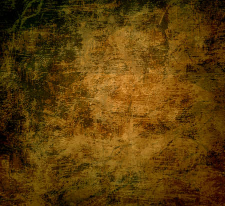 old brown gold paper background illustration with lots of black grunge texture in an old vintage design Stock Illustration - 117136267