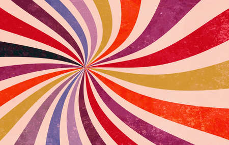 retro starburst or sunburst background pattern with a red purple pink yellow orange blue and black vintage color palette of in a spiral or swirled radial striped design