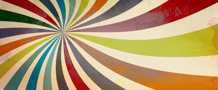 patrón de fondo retro starburst o sunburst con una paleta de colores vintage de burdeos rojo rosa naranja verde azulado azul y beige blanco en una espiral o diseño de rayas radiales arremolinados con textura grunge Foto de archivo