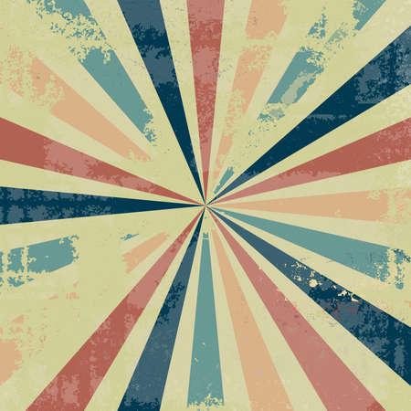 diseño de fondo vintage sunburst con textura antigua angustiada con mucho grunge en la paleta de colores retro de moda de azul rosa melocotón rojo naranja y amarillo beige, fondo estelar Foto de archivo