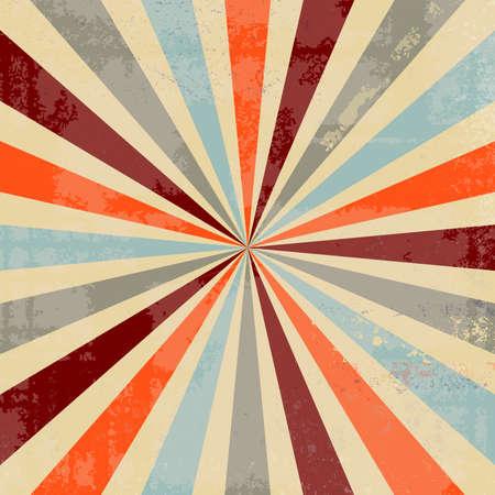 diseño de fondo vintage sunburst con textura antigua angustiada con mucho grunge en la paleta de colores retro de moda de azul verde naranja burdeos rojo y amarillo beige, fondo starburst Foto de archivo