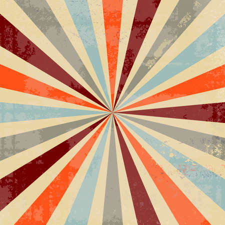 vintage sunburst background design with old distressed texture with lots of grunge in trendy retro color palette of blue green orange burgundy red and yellow beige, starburst background Stock fotó