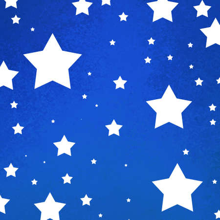 July 4th background with bright blue grunge texture with white stars Reklamní fotografie