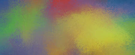 Abstract colorful background with color splashes of green red yellow orange and blue with texture and grunge