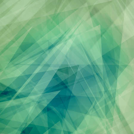 abstract background with layers of triangles, polygons, stripes and random shapes of white blue and green colors in modern art style design