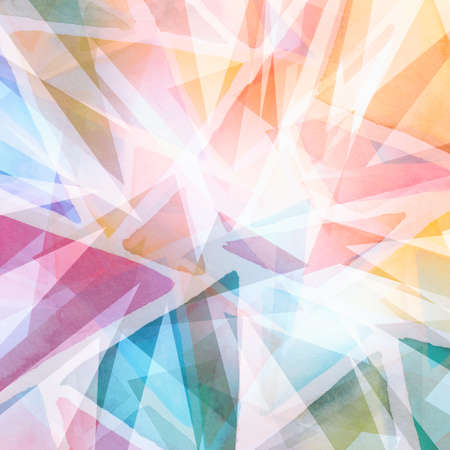 abstract triangle shapes layered in random pattern, orange pink blue green yellow and purple on white background, transparent geometric triangle background design