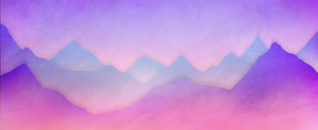 Mountain range background illustration in soft purple pink and blue with white hazy mist in pastel colors, abstract mountain landscape in modern design