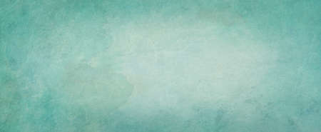 Blue green background with watercolor texture in abstract vintage pastel color and dark border design