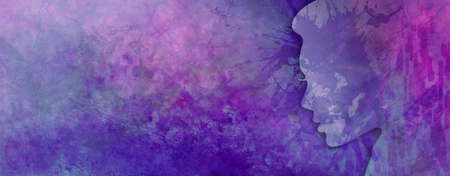 Silhouette of woman or ladies head outline with face illustration on abstract purple and pink background painting in elegant modern and colorful texture design