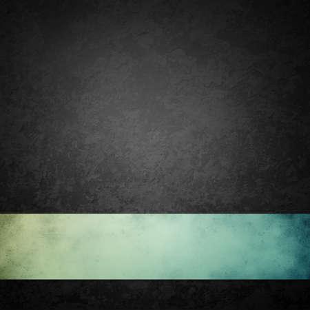 Fondo negro con cinta verde azul, textura grunge vintage apenada con diseño de piedra o roca negro y gris veteado, antiguo diseño de color carbón oscuro que es elegante y con clase