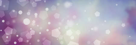 Purple blue and pink background with white bokeh lights in hexagon and circles shapes blurred in pretty soft pastel sky colors