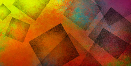 Colorful abstract modern background with texture in geometric black square shapes layered in artsy creative pattern design in bright orange red yellow purple blue and green