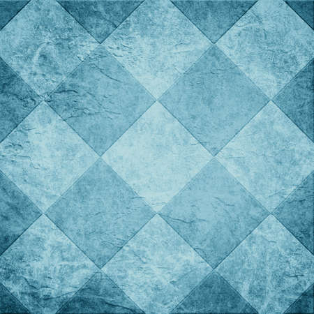 Blue tile background illustration or abstract diamond or block shape pattern on old vintage paper texture background, square shapes in geometric textured design