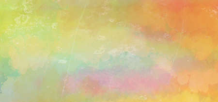 Yellow orange watercolor background with faded distressed white grunge texture in abstract sunrise or sunset sky painting Foto de archivo - 135497559