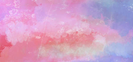 Pink and blue watercolor background with faded distressed white grunge texture in abstract sunrise or sunset sky painting Фото со стока