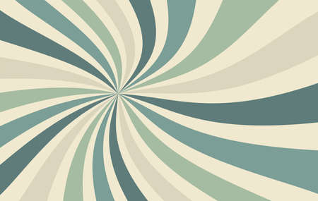 Retro sunburst background vector with spiral or swirl striped pattern and cool colors of blue green and beige