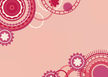 Abstract pink background design in creative modern art circles and retro color pattern, flowers stars rings and circle shapes layered on border in soft pink red and peach colors