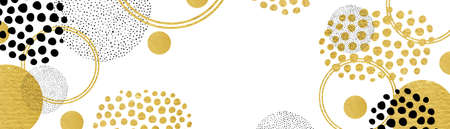 Gold black and white modern background design, shiny gold metal circle shapes rings and spots layered with black spots on white background in creative fun design elements
