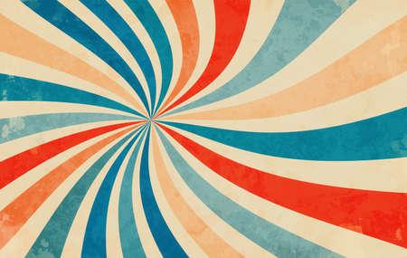 retro starburst sunburst background pattern and grunge textured vintage color palette of orange red beige peach and blue in spiral or swirled radial striped vector design 免版税图像