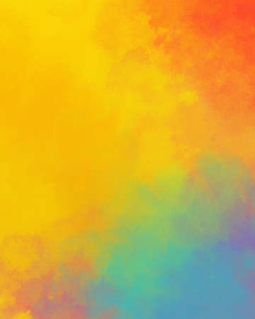 Watercolor background in colorful yellow blue red and orange colors, rainbow color background design with bright abstract color splash border, Easter sunrise in cloudy sky concept