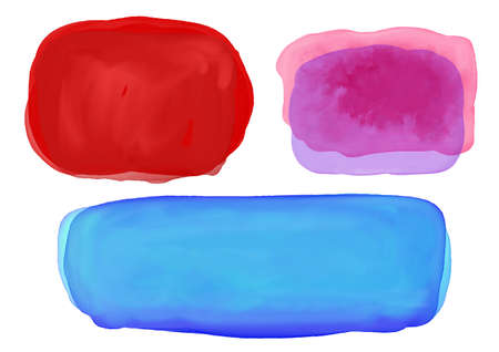 Watercolor blobs or blotches background, dark painted Christmas red blot and dark blue purple and pink blotch or color splash design elements