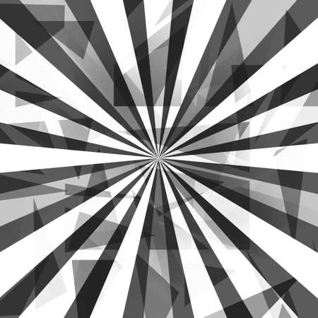 Graphic art design of black and white starbust or sunburst with radial stripes and layers of triangle shapes in geometric pattern illustration
