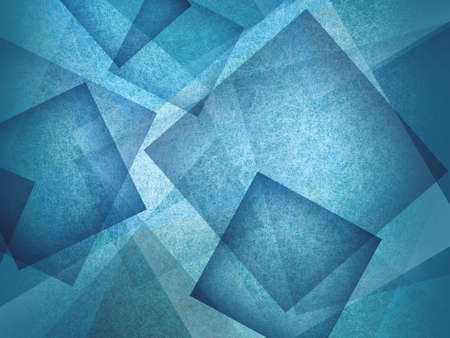 abstract blue background with layers of transparent squares and diamonds with texture and soft lighting, abstract unique design