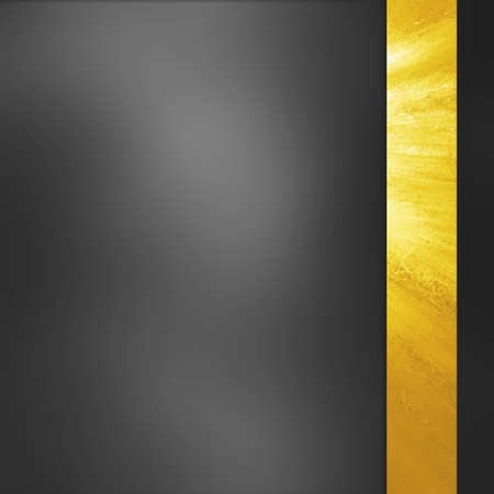 abstract black background blur with gold ribbon sidebar. luxury background. Dark gray background with smooth texture