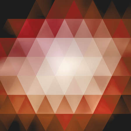 triangle shaped pattern in reds pinks oranges and white on black, low poly background