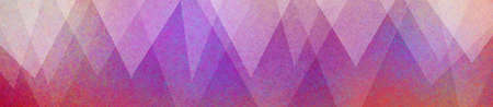 Layers of white triangle shapes on a purple pink red and orange panoramic background. Geometric border decoration with texture in modern art background design. Stok Fotoğraf