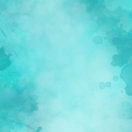 Blue watercolor background illustration with paint spatter blotches and drips on border and soft white texture center design, blue color splash layout