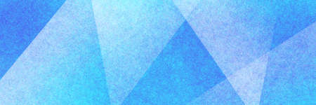 Abstract modern background in blue and white colors and contemporary triangle square and block shapes layered in random geometric art pattern with fine texture 免版税图像