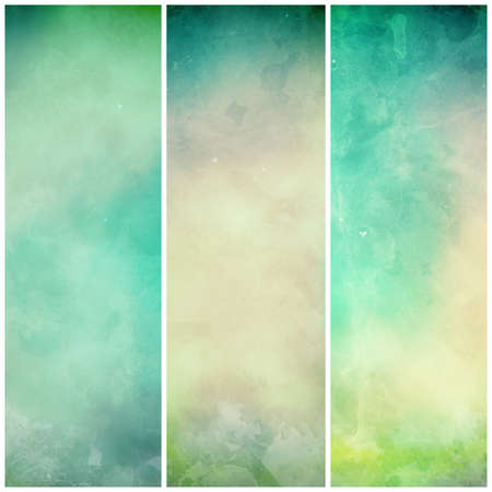 abstract green background banners or striped designs in soft mottled white and beige watercolor grunge texture stains and blue green colors