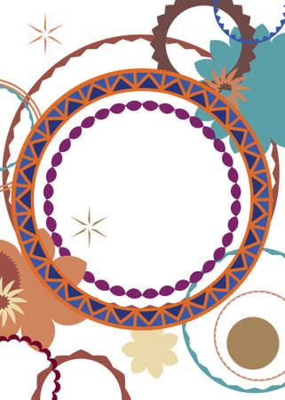 Abstract background pattern of gears flowers stars and circles shapes in modern art border or frame on white, blank center with colors of orange blue purple brown and burgundy color design 免版税图像