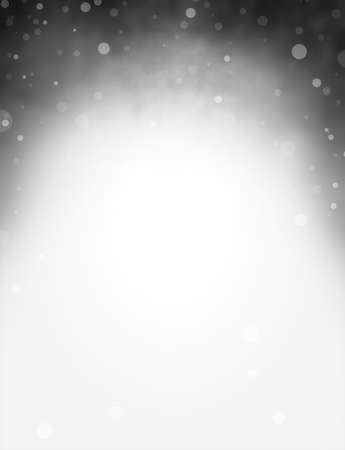 Elegant black and white background design with soft abstract border of bokeh lights, stars or falling snow against a dark color with center copyspace