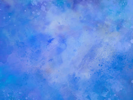 blue watercolor background texture or purple blue and white abstract painted clouds in stormy sky with paint spatter in old vintage textured grunge design 免版税图像