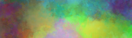 Colorful digital watercolor background of abstract sunset sky with puffy clouds in bright colors of pink green blue yellow orange and purple 免版税图像