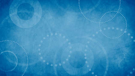 abstract blue background with grunge texture and white geometric circles and dots in old vintage paper design