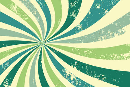 retro groovy sunburst background pattern in 60s hippy style grunge textured vintage color palette of blue and green in spiral or swirled radial striped starburst vector design