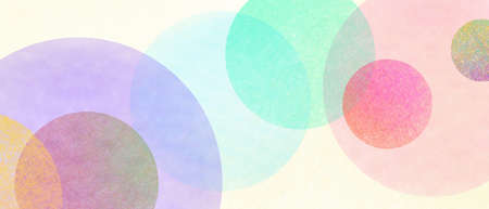 Abstract modern art background style design with circles and spots in colorful pink, blue, yellow, red, green, and purple on light beige or white background 免版税图像
