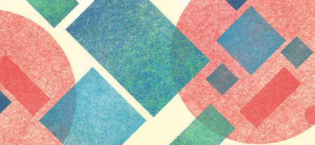 Abstract modern background in blue green red and yellow beige colors and contemporary diamond rectangle square and block shapes layered in random geometric art pattern with fine texture