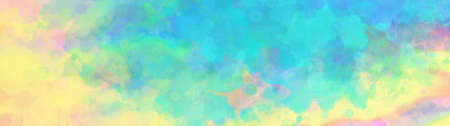Colorful watercolor background of abstract sunset sky with puffy clouds in bright rainbow of pink green blue yellow and purple