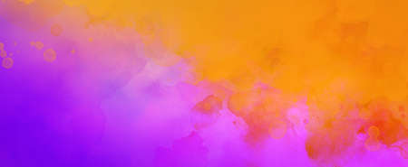Colorful background in purple pink and yellow orange and red colors, colorful painted background texture in abstract sunset or sunrise sky illustration with watercolor paint blotches 免版税图像
