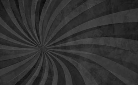 Black swirl pattern in retro background design with old grunge texture and monochrome black white and gray colors, abstract vintage sunburst in hippy groovy illustration 免版税图像