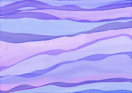 Colorful watercolor background of abstract wavy lines in flowing bright pastel colors of pink blue and purple, waves of soft blurred textured striped colors